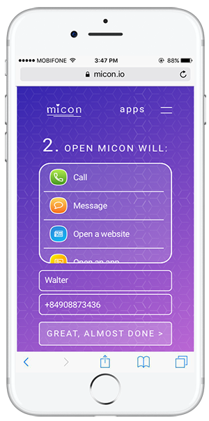 set action for micon